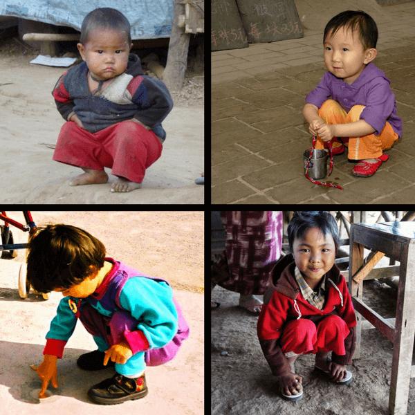 Niños en posición de cuclillas